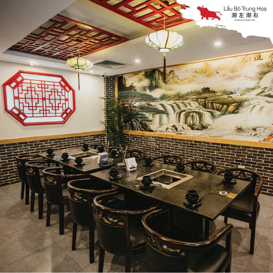 Nhà hàng lẩu bò Trung Hòa Thái Hà mang âm hưởng kiến trúc Trung Quốc