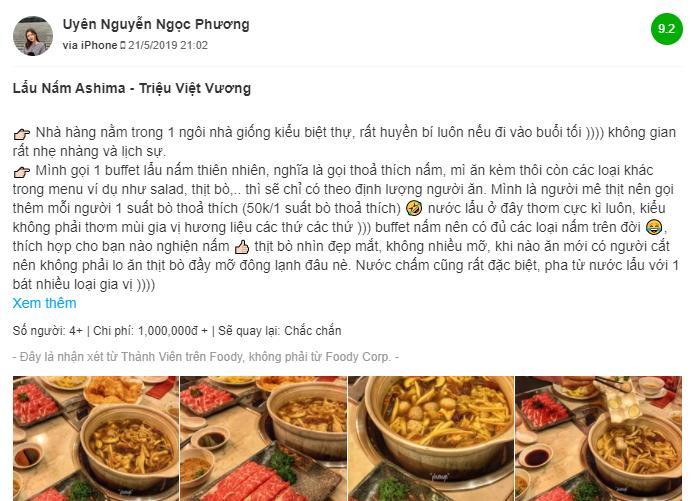danh gia cua khach hang ve lau nam ashima Trieu Viet Vuong