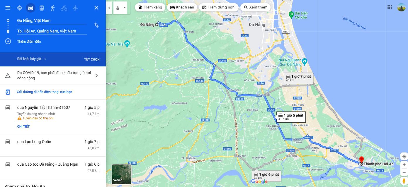 google map da nang hoi an
