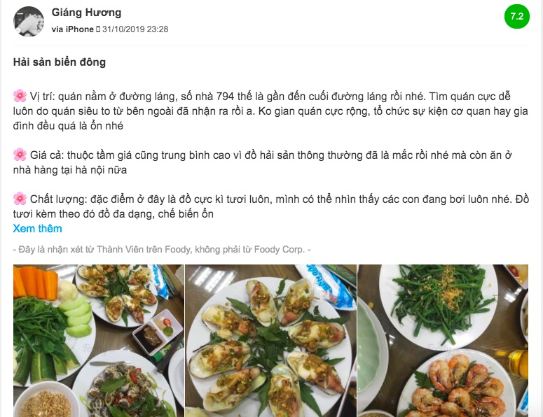 review nha hang