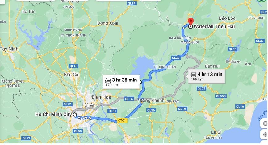 đường đi thác - Thác Triệu Hải
