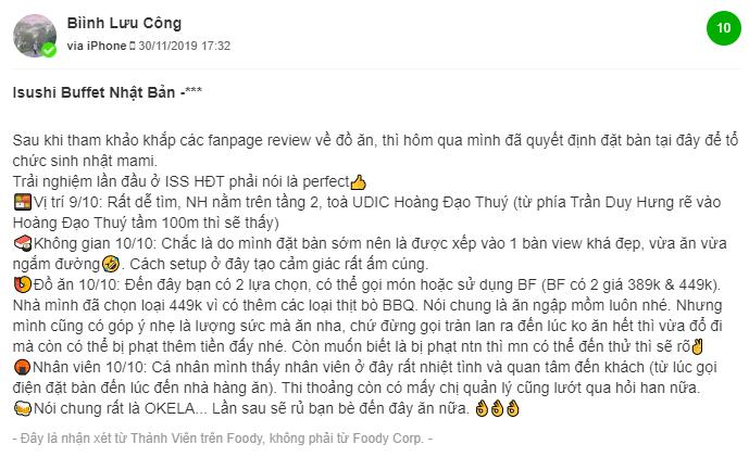 Danh gia cua khach hang ve isushi Hoang Dao Thuy